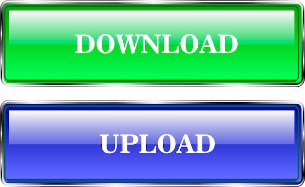 Webデザインの体積ボタン。ダウンロードしてダウンロードします。青と緑の色。 Premiumベクター