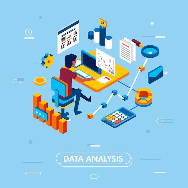 Webサイトおよびモバイルアプリケーションのデータ分析の近代的な等尺性デザインコンセプト。 Premiumベクター