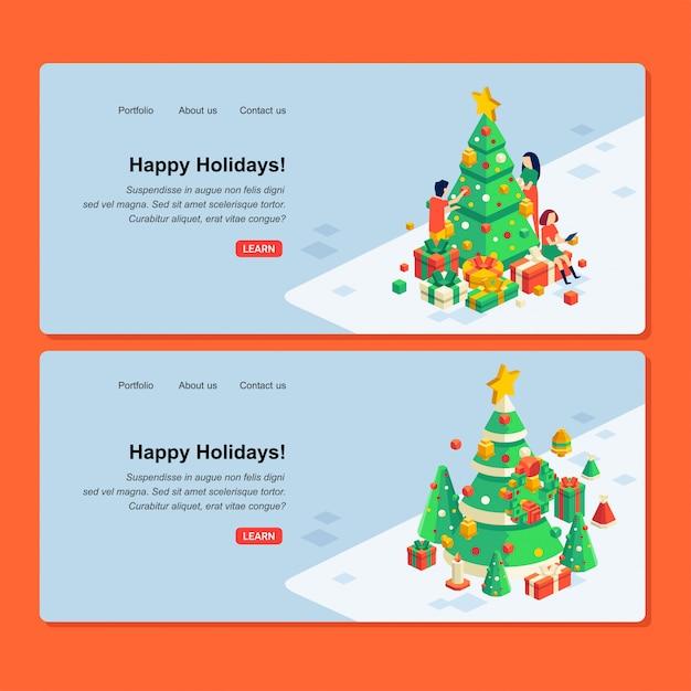 人々のキャラクター、クリスマスツリー、ギフトボックスのイラストとクリスマスwebデザインのセット Premiumベクター