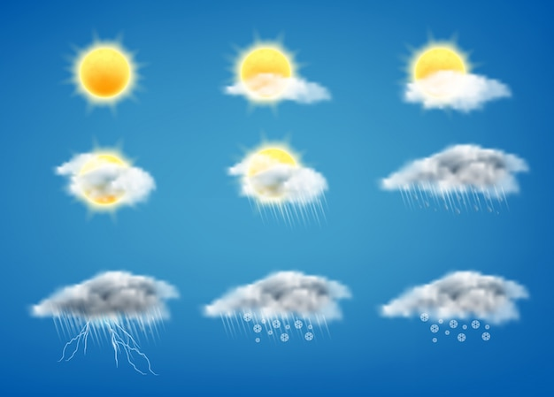 Webインターフェースまたはモバイルアプリの天気予報アイコンのセット 無料ベクター