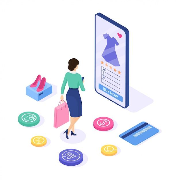 オンラインショッピング 。女性はサイトでドレスを購入します。 webバナーとインフォグラフィックを使用できます。等尺性。図。 Premiumベクター