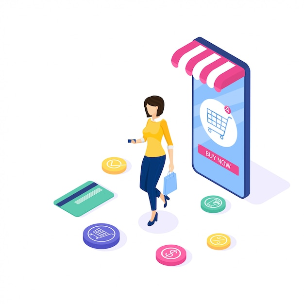オンラインショッピング 。女性はサイトで物を買う。 webバナーとインフォグラフィックを使用できます。等尺性。図。 Premiumベクター