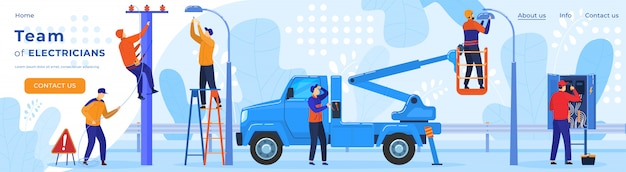 電気労働者、電力線の修理、電気技師の職業webページテンプレートイラストの電気。 Premiumベクター