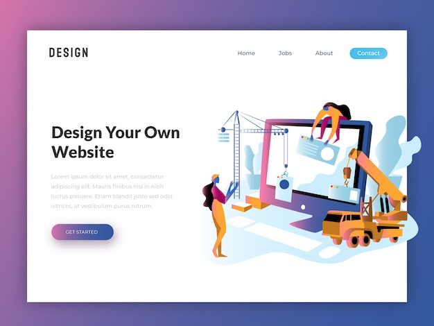Web開発者ウェブサイトフラットイラスト Premiumベクター