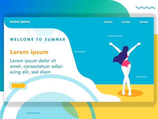 女性はwebイラストのビーチの図に来る Premiumベクター