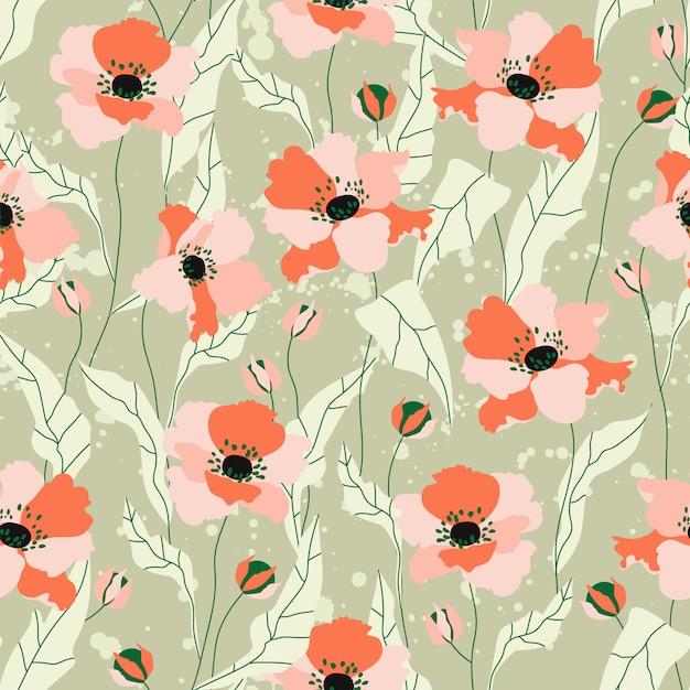 ケシの花のシームレスなパターン。緑の背景に美しい柔らかいオレンジ色の手描きのケシの花。文房具、繊維、webバナーの繰り返し。トレンディな野の花のパターン。 Premiumベクター
