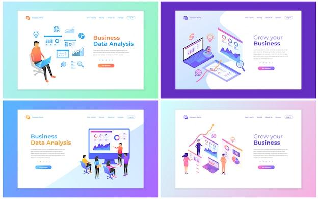 データ分析、デジタルマーケティング、チームワーク、事業戦略および分析のためのwebページデザインテンプレートのセット。 Premiumベクター