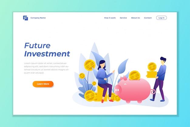 お金投資webバナーの背景 Premiumベクター