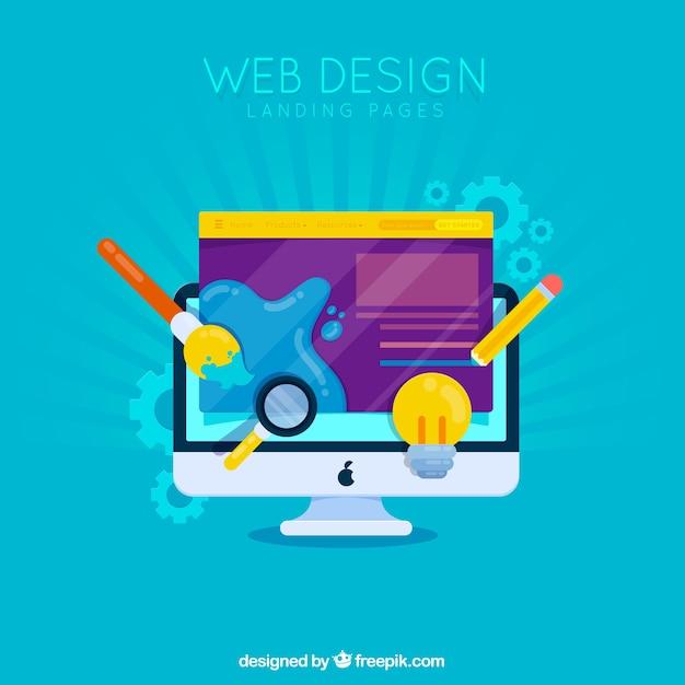 リンク先ページのwebデザインコンセプト 無料ベクター