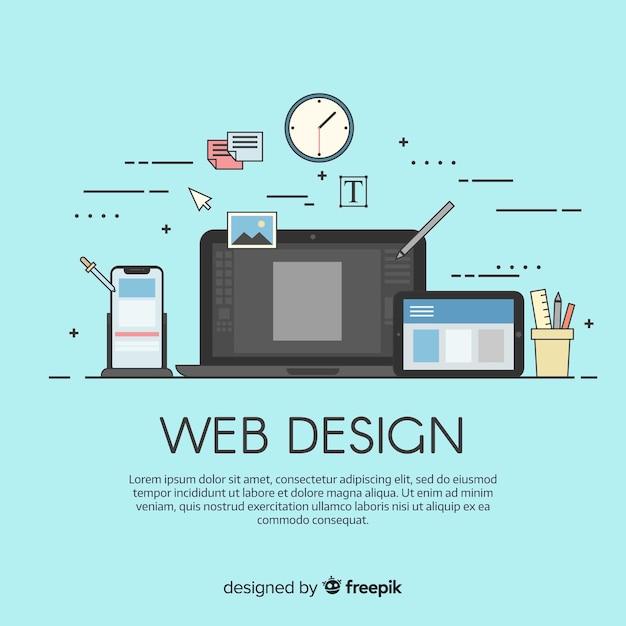 フラットスタイルの最新のwebデザインコンセプト 無料ベクター