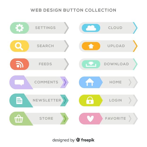 フラットデザインのカラフルなwebデザインのボタンコレクション 無料ベクター