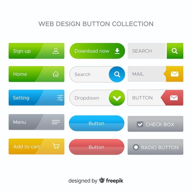 グラデーションスタイルのさまざまなwebボタン 無料ベクター