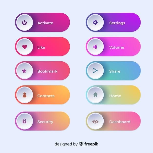 グラデーションスタイルの異なるwebボタン 無料ベクター