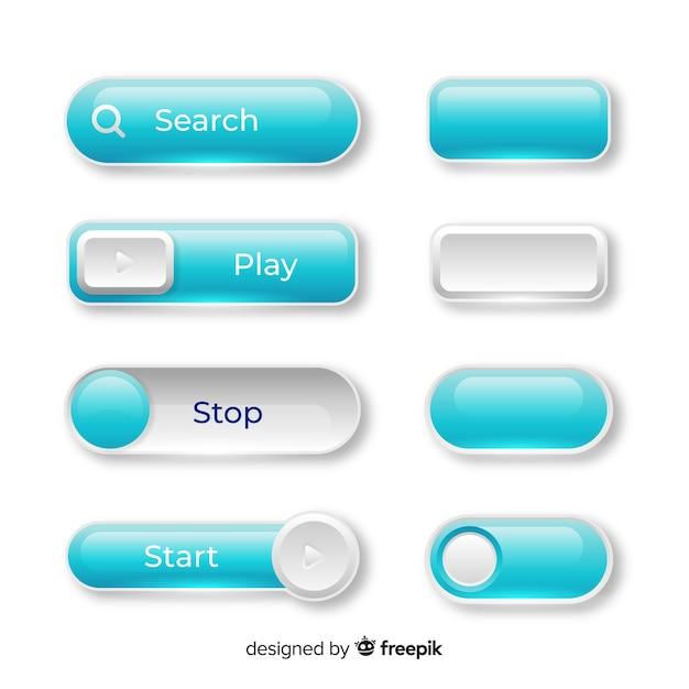 グラデーションスタイルのwebボタン 無料ベクター