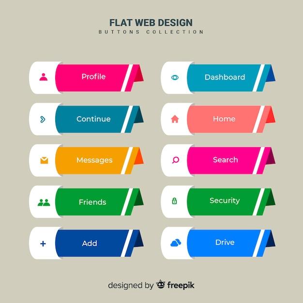 フラットデザインでwebボタンを設定 無料ベクター