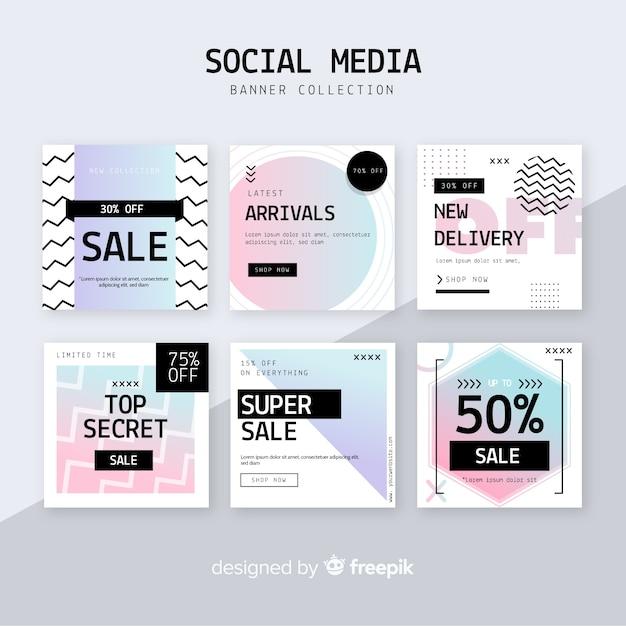 ソーシャルメディアの販売webバナー 無料ベクター