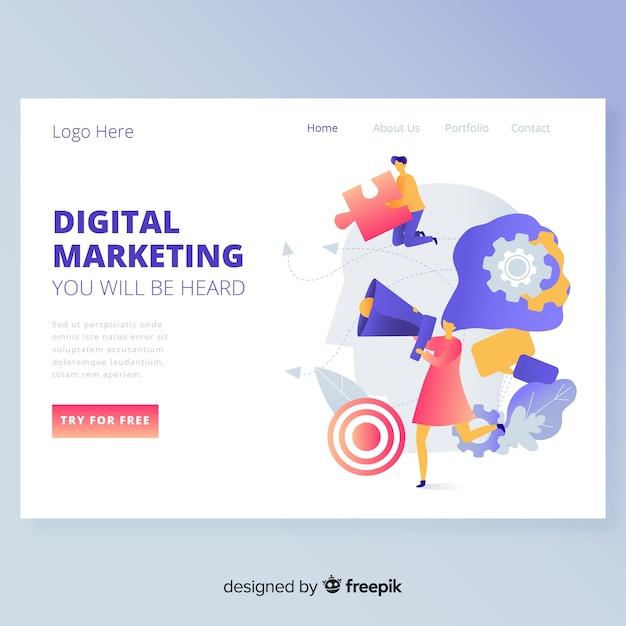 デジタルマーケティングのランディングページのwebデザイン 無料ベクター