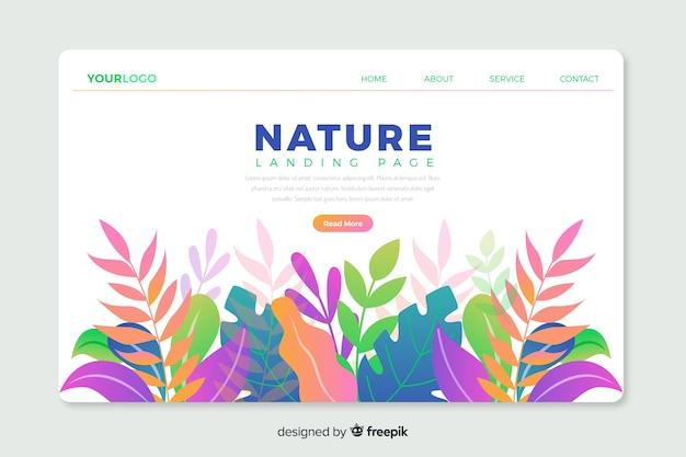 自然をテーマにしたデザインのランディングページのwebテンプレート 無料ベクター