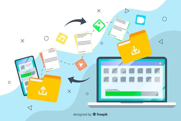 ランディングページwebテンプレートの転送ファイルの概念 無料ベクター