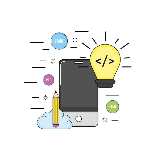 Webコードプログラミングソフトウェアを搭載したスマートフォン Premiumベクター