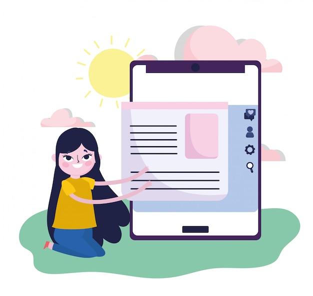 若い女性のスマートフォンコンテンツ情報webソーシャルメディア Premiumベクター