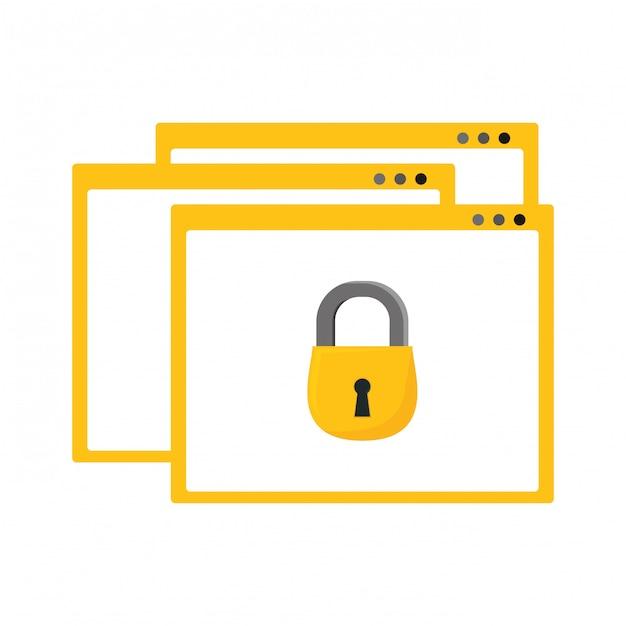 インターネットセキュリティwebブラウザのアイコン 無料ベクター