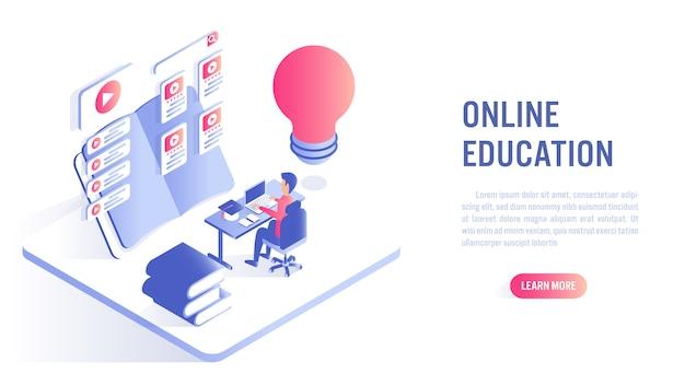 オンライン教育の概念。行動を促すフレーズまたはwebバナーテンプレート Premiumベクター