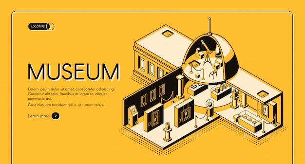 歴史、芸術、科学博物館の断面等尺性ベクターwebバナー 無料ベクター