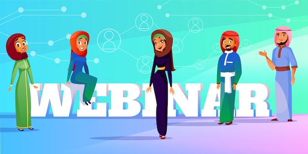 イスラム教徒のウェブセミナーweb会議またはセミナーのスピーカーのイラスト。 無料ベクター