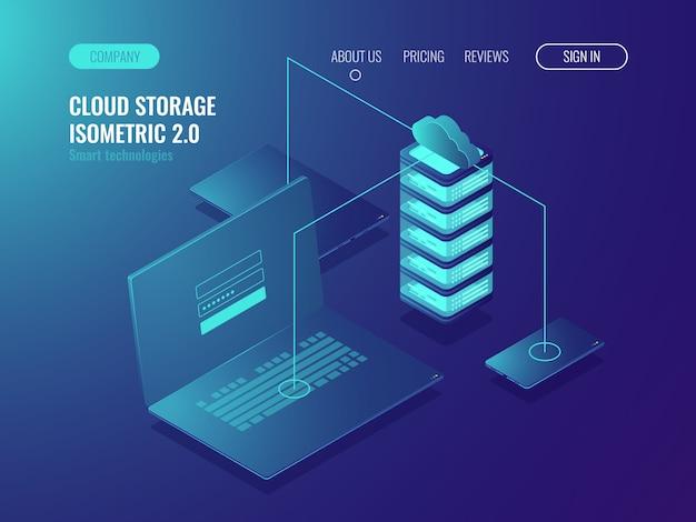 Webホスティングソリューション、クラウドサーバーのデータストレージ、データ転送とデータ転送 無料ベクター