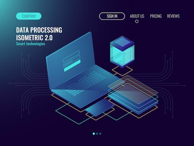 Webホスティング、ユーザーインターフェイス開発ラボのコンセプト、クラウド内のデータストレージ 無料ベクター