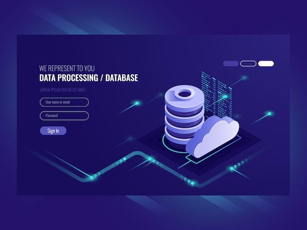 ビッグデータフロー処理のコンセプト、クラウドデータベース、webホスティング、サーバルームアイコン 無料ベクター
