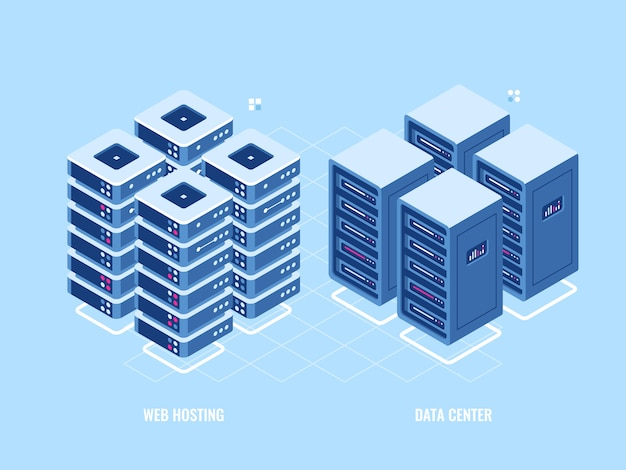 Webホスティングサーバーラック、データベースとデータセンターのアイソメトリックアイコン、ブロックチェーンデジタルテクノロジー 無料ベクター