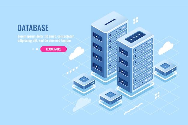 サーバールーム、webサイトのホスティング、クラウドストレージ、データベースおよびデータセンターのアイソメトリックアイコン 無料ベクター