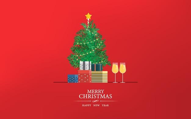 メリークリスマスと新年あけましておめでとうございますパーティーwebランディングページ。 Premiumベクター