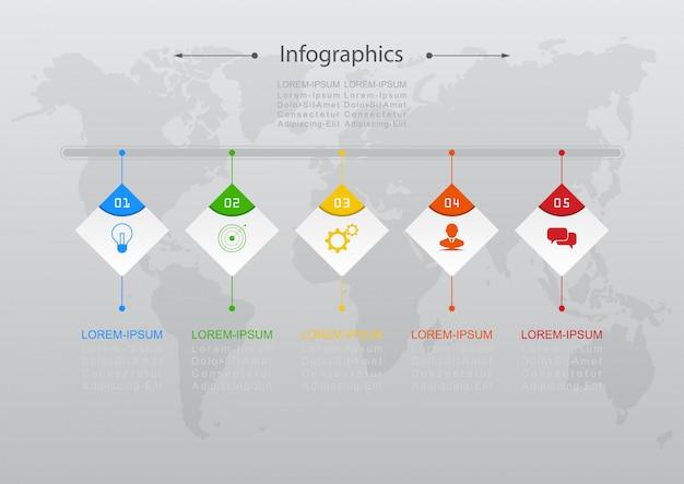 インフォグラフィックデザインベクトルビジネスコンセプトのステップやプロセスは、ワークフローのレイアウト、図、年次報告書、webデザインに使用できます。 Premiumベクター