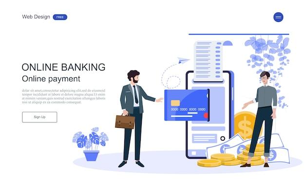 リンク先ページのwebテンプレートオンラインバンキング、金融取引のビジネスコンセプト。 Premiumベクター
