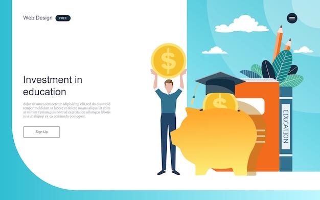 ランディングページのwebテンプレート。教育オンライン学習、トレーニングおよびコースへの投資の概念。 Premiumベクター