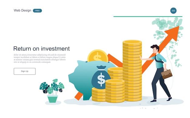 ランディングページのwebテンプレート。金融と投資のための概念投資の回帰 Premiumベクター