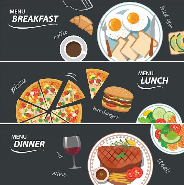 朝食、ランチ、ディナーのwebバナーのセット Premiumベクター