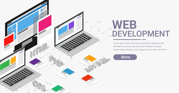 Web開発アイソメトリックバナー Premiumベクター