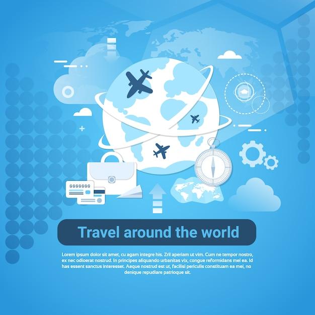 青色の背景にコピースペースを持つ世界のwebバナーを旅します。 Premiumベクター