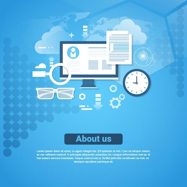 私達について連絡先情報テンプレートコピースペースを持つwebバナー Premiumベクター
