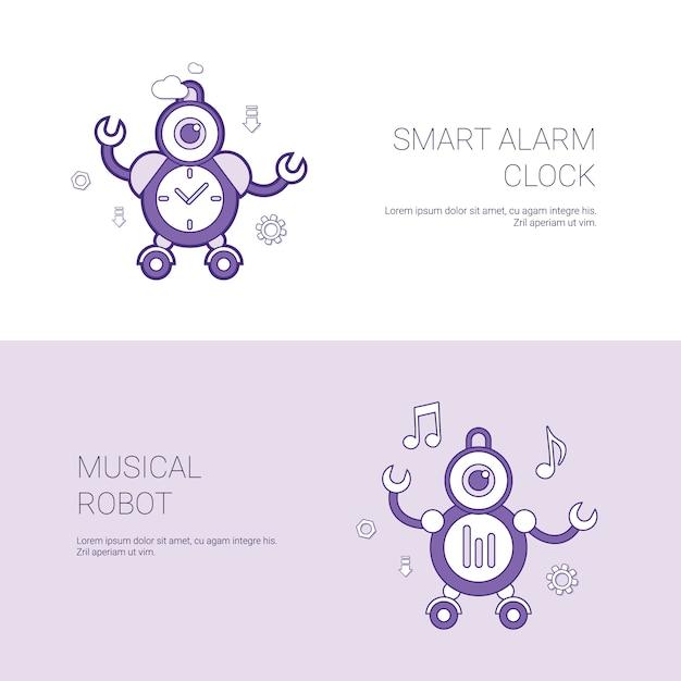 スマートな目覚まし時計と音楽ロボットのコンセプトテンプレートコピースペースを持つwebバナー Premiumベクター