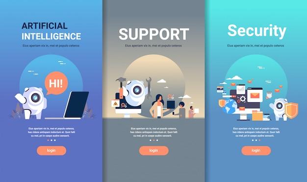 人工知能のサポートとセキュリティの概念の異なるビジネスコレクションのwebデザインテンプレートセット Premiumベクター