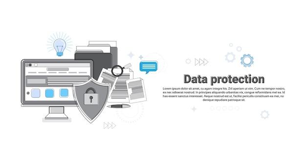 オンラインセキュリティデータ保護webテクノロジーバナーのベクトル図 Premiumベクター