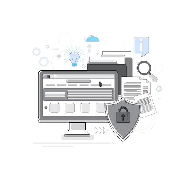 オンラインセキュリティデータ保護webテクノロジー細線ベクトル図 Premiumベクター