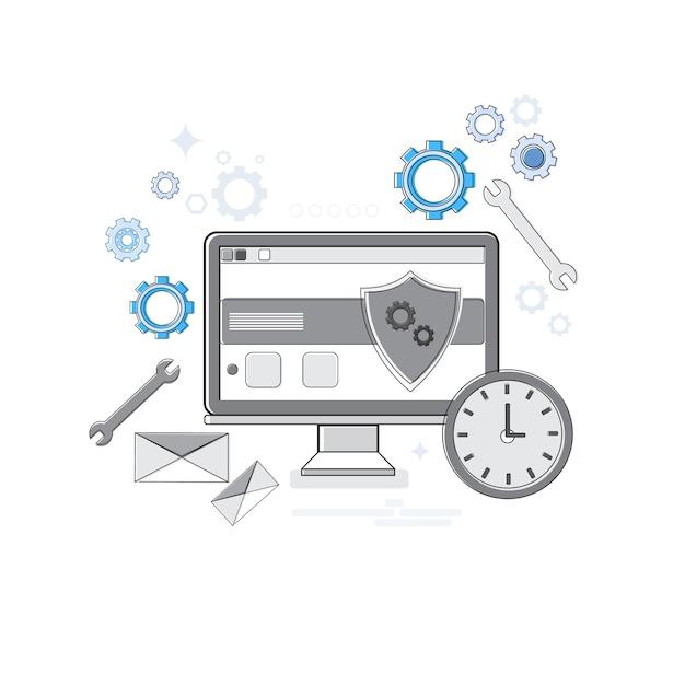 オンラインセキュリティデータ保護webテクノロジーバナー細線ベクトル図 Premiumベクター