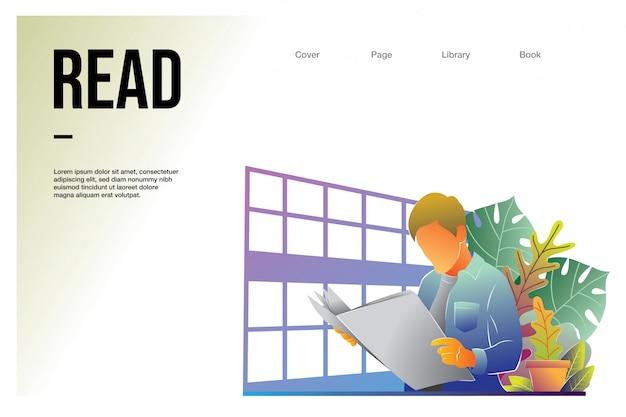 ランディングページのwebテンプレートの男性と図書館で読書 Premiumベクター
