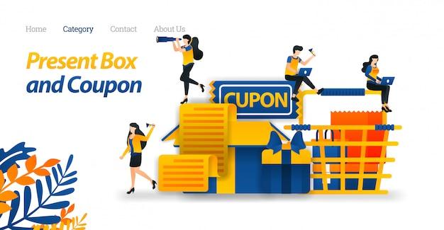さまざまなアクセサリー、ギフト券、ショッピングカート付きプレゼントボックスデザインのランディングページwebテンプレート。 Premiumベクター